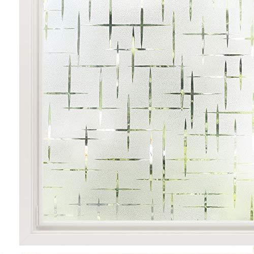 Rabbitgoo Fensterfolie statisch haftend Sichtschutzfolie Selbstklebend Klebefolie Milchglasfolie Fenster Folie Milchglas Dekofolie für Bad Küche Anti-UV - Kreuz - 44.5 x 200 cm