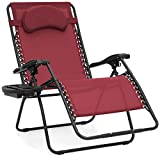 Best Choice Products Oversized Folding Zero Gravity Outdoor Reclining Lounge Patio Chair w/Cup Holder - Burgundy