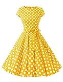 Dressystar Vestido retro años 50 para mujer, de un solo color, estilo rockabilly, swing Color amarillo y blanco. M