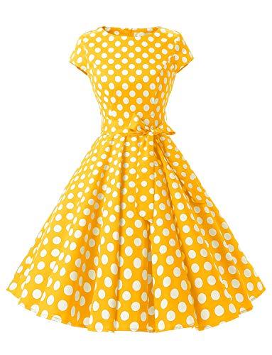 Dressystar Vintage Anni '50 Polka DOT e Tinta Unita Abiti da Ballo cap-Sleeve Jaune a Pois Blanc B S