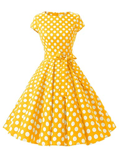"""Dressystar-Kleid """"Audrey-Hepburn"""", klassisches Retrodesign, im Stil der 50er- und 60er Jahre ohne Ärmel Gr. Medium, Gelb mit weißen Punkten B"""