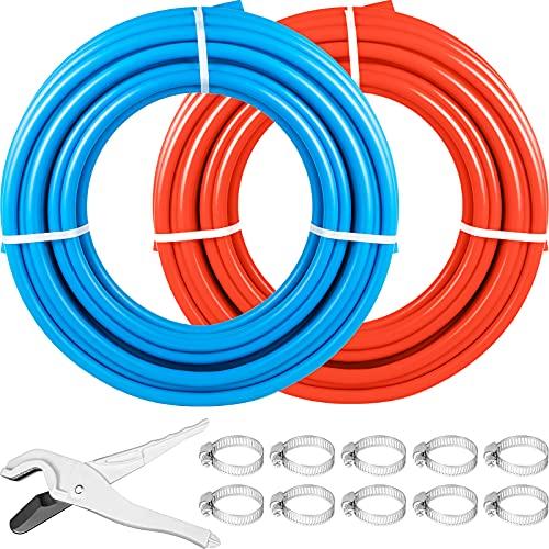 Happybuy PEX Tubing Pipe 2 Rolls of 1/2 Inch X 100 Feet PEX Tubing Non Oxygen Barrier Radiant Floor PEX Pipe Radiant Heat Floor Heating Plumbing Cold and Hot Water Tubing