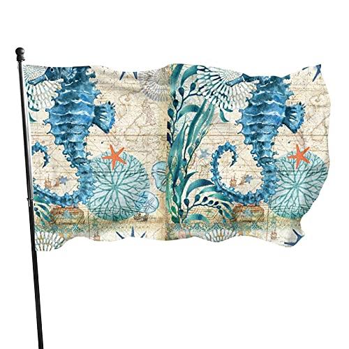 GOSMAO Bandera de jardín Old Ocean Sea Horse Color Vivo y Resistente a la decoloración UV Banner de Patio Cosido Doble Bandera de Temporada Banderas de Pared 150X90cm