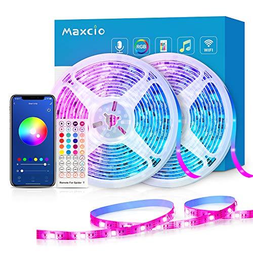 WiFi Ruban LED 20M Alexa, Maxcio Bande LED 5050 RGB Compatible avec Alexa/Google Home, LED Ruban Musical Contrôlé par Smartphone, Synchroniser avec Rythme de Musique pour Noël et Fête(10M*2)