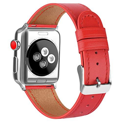 AK Cinturino Compatibile con Apple Watch 38 mm 42 mm 44 mm 40 mm Cinturino di Ricambio Fibbia in Vera Pelle per iWatch Serie 5 Serie 4 Serie 3 Serie 2 Serie 1 (42mm/44mm, 05 Rosso)