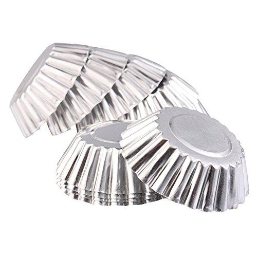 Hrph 10pcs Egg Tart Aluminium Kuchen-Kuchen-Plätzchen-Form Gefüttert Mould Zinn-Backen-Werkzeug