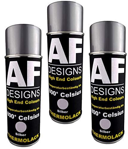 Alex Flittner Designs Thermolack Spray 3 Spraydosen Ofenlack Auspufflack Hitzebest. 800 °C Silber 400ml