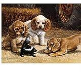 N-L Kits de Pintura por números para Adultos - Artes y Manualidades para Adultos - Pintura por números para niños - Pintura al óleo por números Perros Jugando Animales