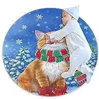 エリアラグ軽量 冬の猫のクリスマス フロアマットソフトカーペット直径27.6インチホームリビングダイニングルームベッドルーム