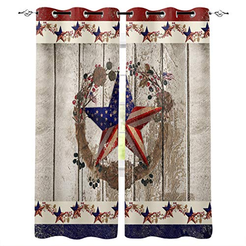 """BMALL Grommet Window Curtains Panels Patriotic Stars and Primitive Berries on Country Wooden Plank Window Curtain 2 Panels for Living, Dining, Bedroom,52"""" x 63"""""""