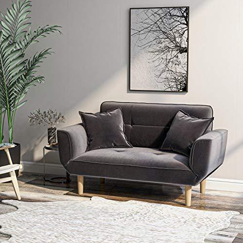 Modernes Schlafsofa mit 2 Sitzen, Sofa-Couch, Loveseat für Wohnzimmer, dicker Futon-Samt, Sofa mit Armlehne, Liege, Schlaf, einfach, grau