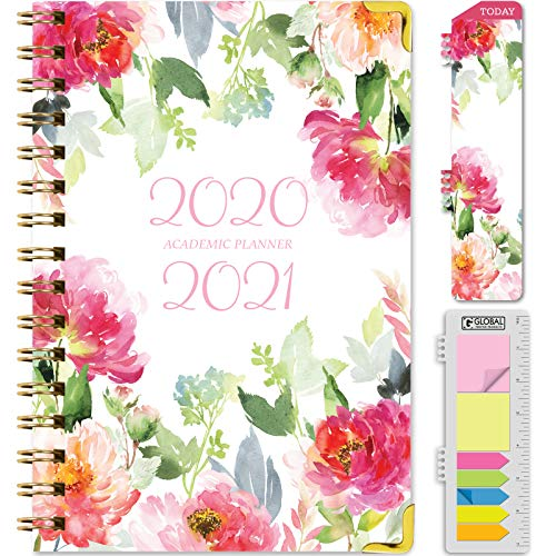 "HARDCOVER Academic Year 2020-2021 Planner: (June 2020 Through July 2021) 5.5""x8"" Daily Weekly Monthly Planner Yearly Agenda. Bonus Bookmark, Pocket Folder and Sticky Note Set (Elegant Floral)"