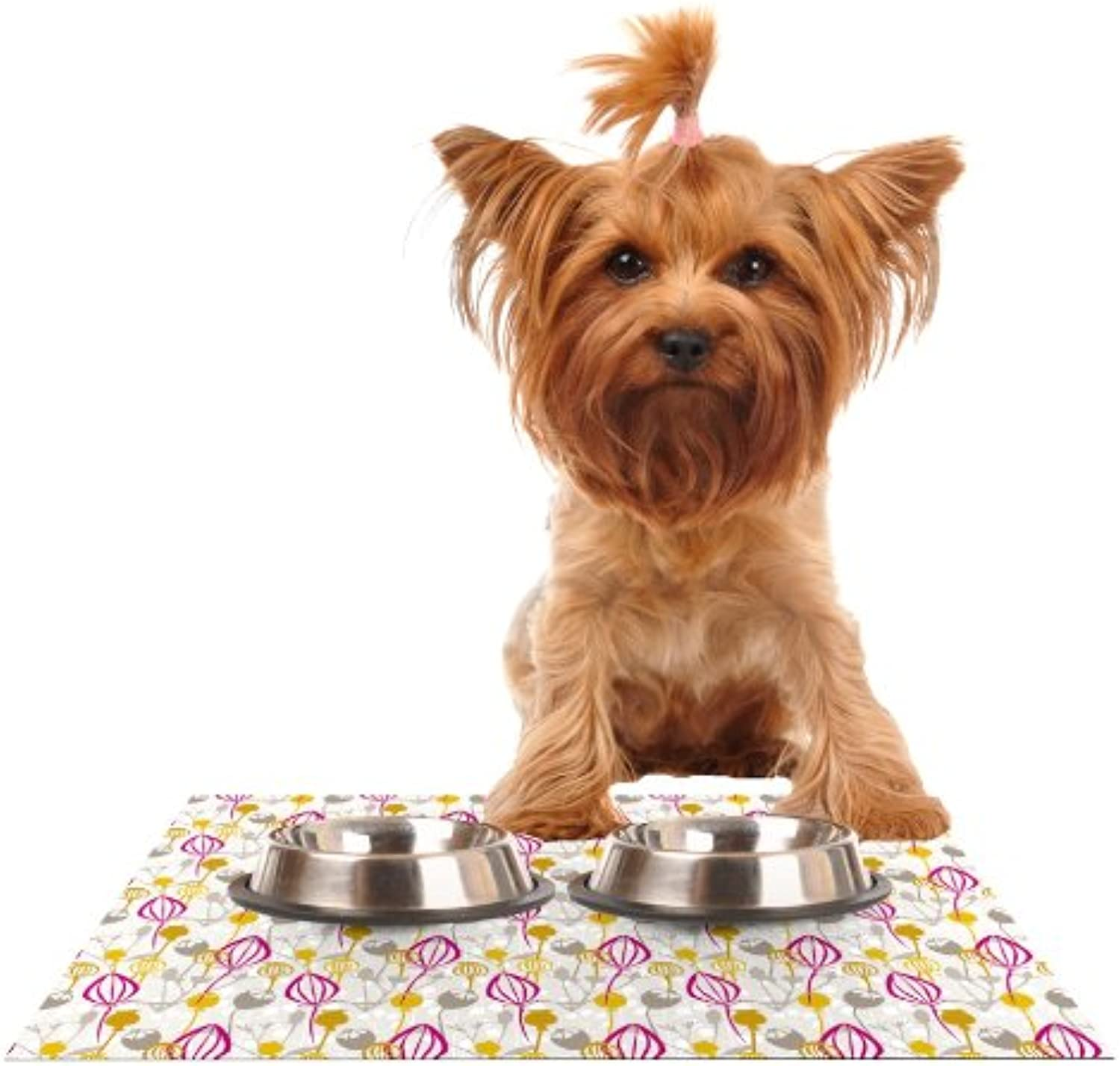 KESS InHouse Julie Hamilton Mulberry  Pink Yellow Feeding Mat for Pet Bowl, 18 by 13Inch
