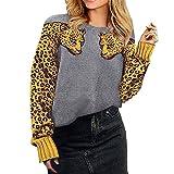 N\P Leopardo Impreso Suéter De Las Mujeres Otoño Animal Print Patchwork O-Cuello De Manga Larga Jersey Suelto Suéter Pull Femme