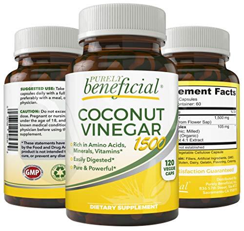 Coconut Vinegar Capsules – Powerful Apple Cider Vinegar Alternative, Nutrient Dense from Coconut Sap, Rich in Minerals, 17 Amino Acids, Low Glycemic, Keto-Athlete-Diet Friendly, 120 Capsules