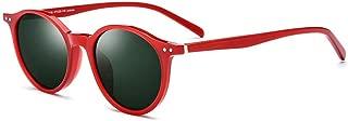 Durable Color Plate Frame Polarized Sunglasses Female Retro Round Sunglasses UV400 Protection (Color : Red)