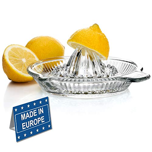 Crystalia Lemon Squeezer Citrus Juicer, Extractor Manual Hand with Handle and Pour Spout, BPA Free and Lead Free Heavyweight Crystal Clear Glass