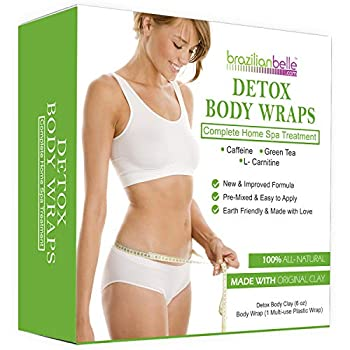 Brazilian Belle Detox Clay Body Wraps for Inch Loss   Advanced Spa Formula with Bentonite Clay Caffeine & Aloe Vera   Cleanses & Improves Skin Texture   8 Applications
