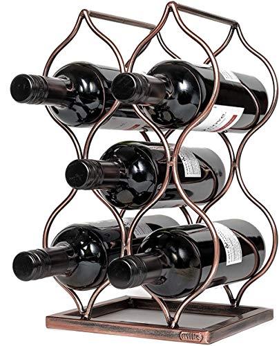 Mazu Homee Botellero independiente para colocar botellas de vino, muy adecuado para regalos y accesorios para amantes del vino, no requiere montaje, oro rosa