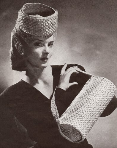 Vintage Crochet PATTERN to make - 1940s High Pillbox Roll Bag Purse. NOT a finished item. This is a pattern and/or instructions to make the item only.