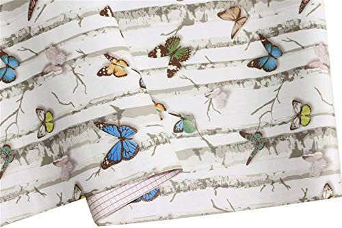 QQGGTongFeng Papel Pintado Autoadhesivo �rbol de Abedul con/Mariposa Pegatina Papel de Vinilo Autoadhesivo Papel de Contacto de baño decoración de la Pared en casa habitación para casa