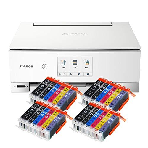 Canon Pixma TS8351 TS-8351 All-in-One Farbtintenstrahl-Multifunktionsgerät (Drucker, Scanner, Kopierer, CD-Druck, USB, WLAN, Apple AirPrint, SD-Karte) Schwarz + 24er Set IC-Office 580XXL 581XXL
