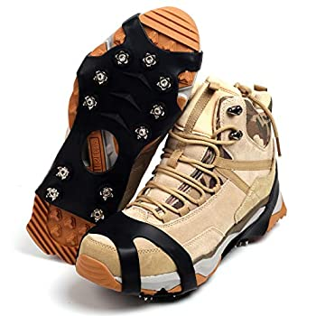 11 Spikes Crampons Upgraded Version Stainless Steel Anti-Slip Microspikes Ice Cleats Grips for Hiking Shoes and Boots Hiking Fishing Walking Mountaineering Black Small