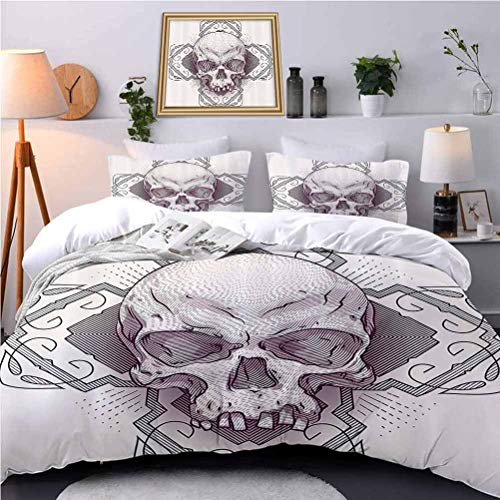 UNOSEKS LANZON Kids' Quilt Set Engraving Skulls Floral Diamd and Background Scary Fear Light-Weight Duvet Cover Set Felt Like Sleeping in A Cloud - Twin Size