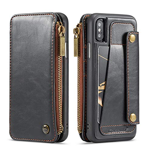 Wallet Leather Case for Apple iPhone XS iPhone X , Black 4 Card Slot (ID card,credit card)2 Money Pockets(one Zipper) Kickstand Full Protection 5.8inch Removable Design Best Gift for Girls Boys Unisex