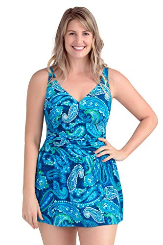 PERONA Women Plus Size Swimwear One Piece Swimdress Tummy Control Swimsuit Printed Skirt Bathing Suits (US 28(Read The Size Chart in Our Image), Paisley)