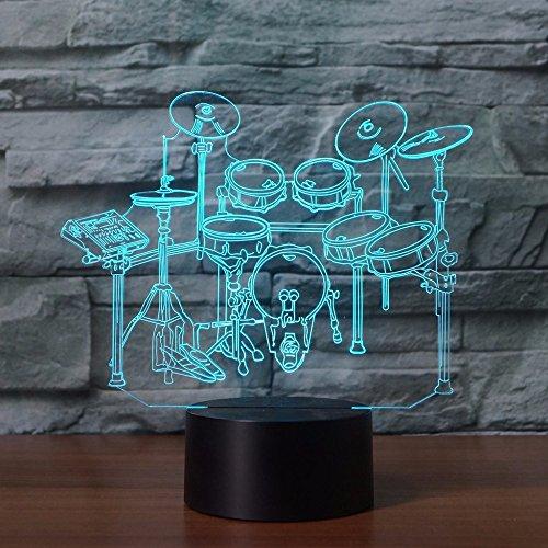 Jinson well 3D rack schlagzeug Nachtlicht Lampe optische Nacht licht Illusion 7 Farbwechsel Touch Switch Tisch Schreibtisch Dekoration Lampen perfekte mit Acryl Flat ABS USB