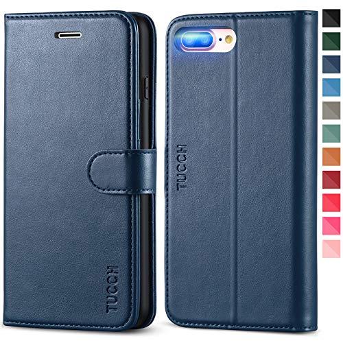 TUCCH Funda iPhone 8 Plus, Carcasa Protectora para iPhone 7 Plus con Soporte Plegable, Ranura para Tarjeta, Cierre Magnético, Funda de Cuero PU para iPhone 8 Plus/7 Plus, Azul Oscuro