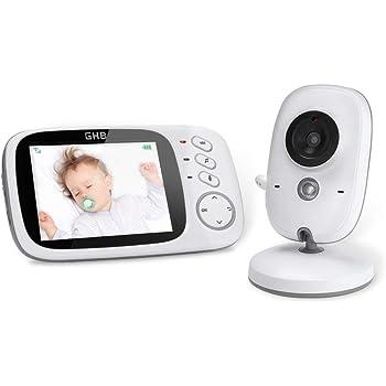 GHB Babyphone 3,2 Zoll Smart Baby Monitor mit TFT LCD Bildschirm Nachtsichtkamera und Temperaturüberwachung (Babyeinheit ohne Akku)