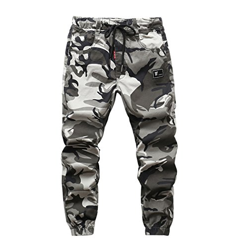 YoungSoul Hosen für Jungen - Jogginghose mit Bündchen und Military-Muster - Cargohose mit Kordel-Taille Grau(Regular Fit) 152-164