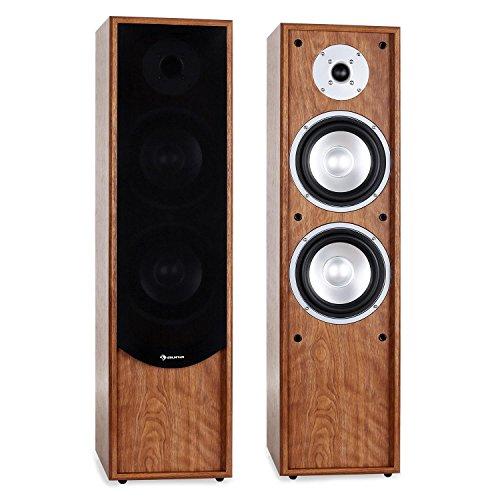 auna - Linie-300-WN, Standlautsprecher, Standboxen, Lautsprecher-Boxen, HiFi-Standboxen, 2-Wege-Lautsprecher, 80W RMS Leistung, Bassreflex für druckvollen Klang, walnuss