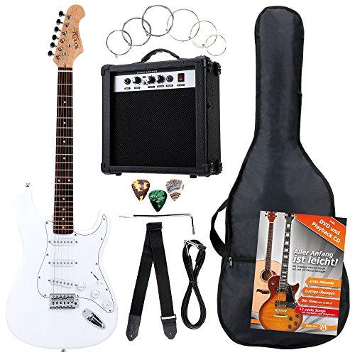 Rocktile Banger's Pack Komplettset E-Gitarre Weiß (Verstärker, Tremolo, Tasche, Kabel, Gurt, Plecs, Ersatzsaiten und Schule mit CD/DVD)