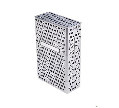 GONO Alu Zigarettenetui Zigarettendose Zigaretten Etui Box Alu Edel mit stylischem Loch-Design Farbe der Box Silber