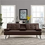 JUMMICO Futon Sofa Bed Faux Leather Couch Bed Modern Convertible Folding Recliner with 2 Cup Holders for Living Room (Brown)