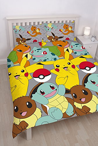 Pokemon Catch Repeat Print Design Duvet Set, Double, Microfibre, Multi-Colour