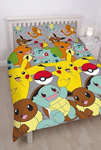 Pokémon Set con Copripiumino dal Design a Stampa ripetuta, Multicolore, Matrimoniale