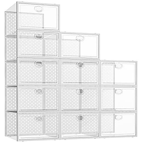 핑크팜 12팩 슈 저장소 상자 클로셋용 클리어 스택블 슈 컨테이너 사이즈 11에 맞는 스니커 저장소