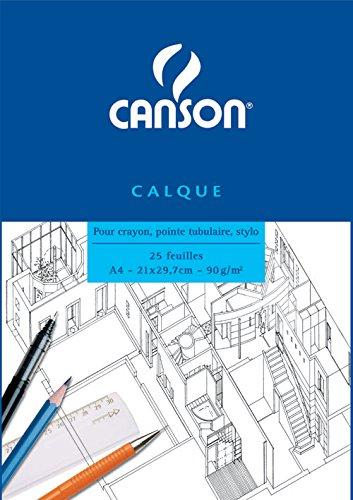 Canson Bloc Papier calque A4 21 x 29,7 cm 25 feuilles Translucide