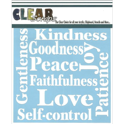 Clear Scraps CSSM6-FRUIT Translucent Plastic Film Stencil, Fruit of The Spirit, 6-Inch x 6-Inch