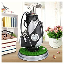 10L0L Mini Desktop Golf Bag Pen Holder with Golf pens Clock 6-Piece Set of Golf Souvenir Tour Souvenir Novelty Gift (Silver and Black)