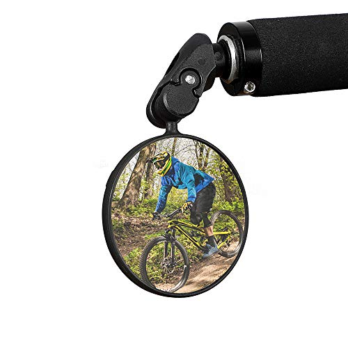 NEWCOKA Bar End Bike Mirror with Safe Rearview of Bicycle Cycling, 360 Degrees Adjustable Handlebar Plastic Convex Mirror for Mountain Bike and Road Bicycle