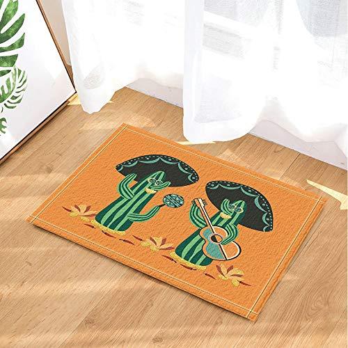 SRJ2018 Desierto Mexicano Decoración de Plantas Naturales Cactus Mariachi con Guitarra y Maracas Alfombras de Baño Felpudo Antideslizante para Interiores 60X40 CM