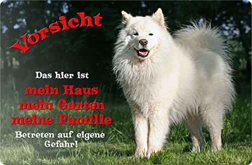 +++ SAMOJEDE Samoyede Schlittenhund - Metall WARNSCHILD Schild Hundeschild Sign - SMJ 02 T1