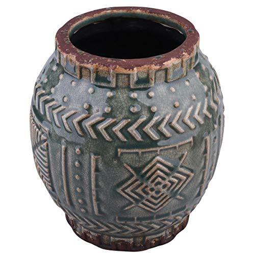 Dadeldo Home Vase Ethno-Chique Steinguss 18x17x17cm Petrol-Mix Dekoration Gefäß Blumen Pflanzen