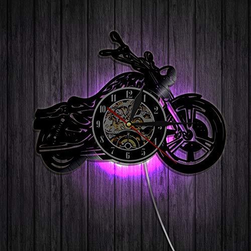YZJYB Reloj De Pared De Vinilo De Registro LED Patrón con Motocicleta 3D Decoración Familiar Arte Regalo 7 Colores con Control Remoto Relojes Silenciosos 30Cm