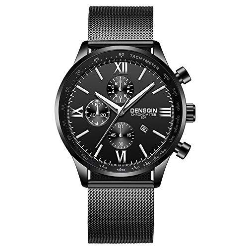 ITVIP Hombres Cinturón de malla de acero inoxidable Reloj de cuarzo de tres ojos Reloj de negocios simple con fecha Pulsera 250 A.